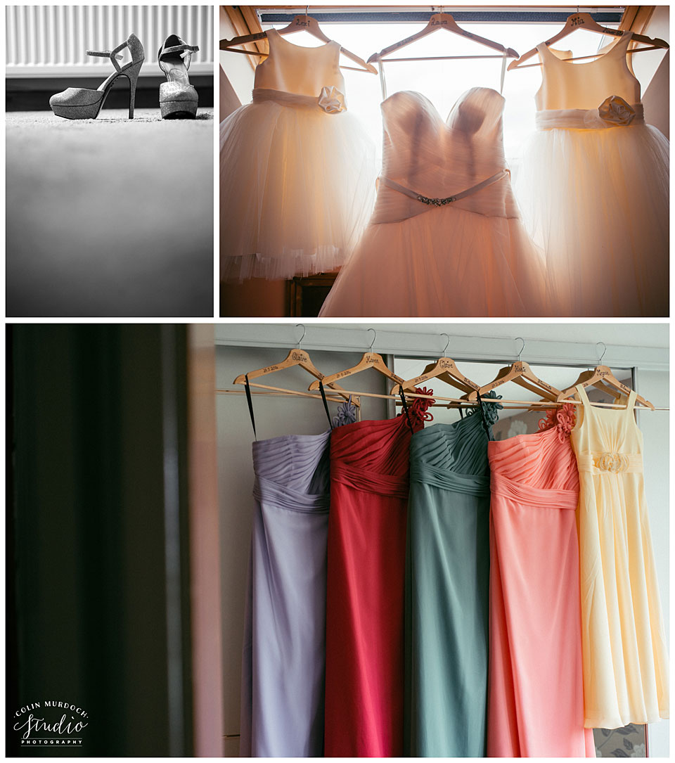 Bride's and bridesmaid's dresses at Aldwark Manor