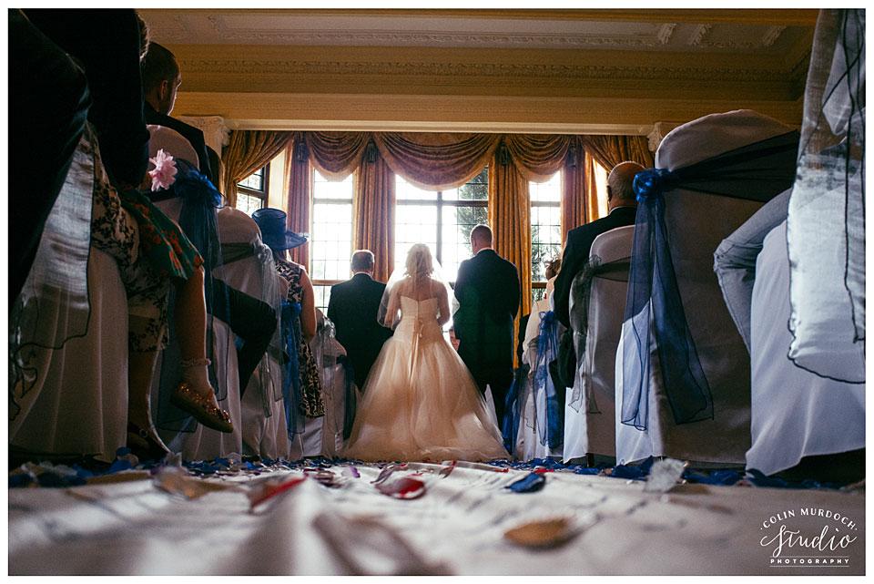 Wedding ceremony at Aldwark Manor in Yorkshire