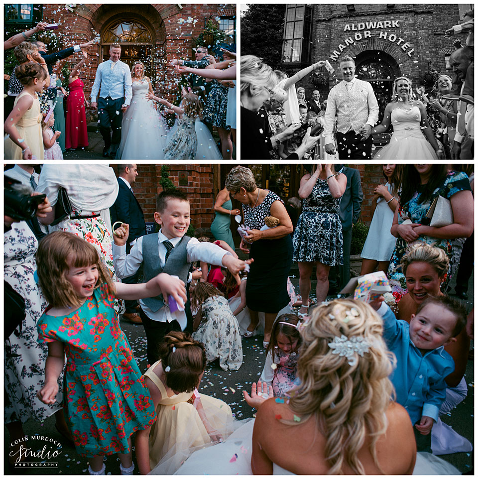Wedding confetti at Aldwark Manor in Yorkshire