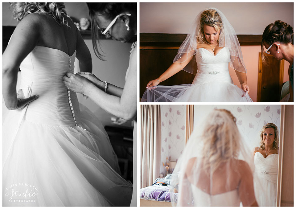 Bride getting ready before the wedding at Aldwark Manor in Yorkshire