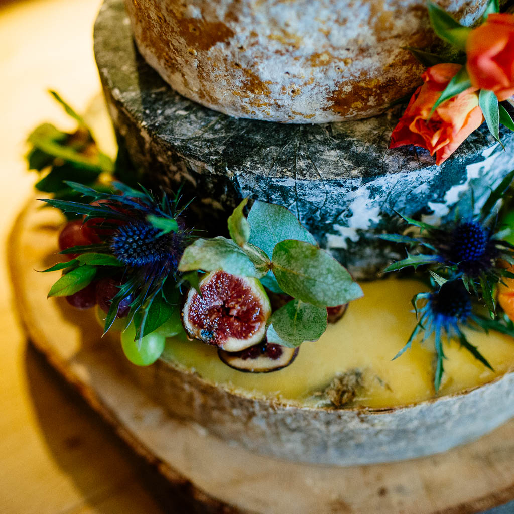 A beautiful wedding cheese wheel cake