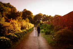 Newly married couple at a wedding venue in Yorkshire